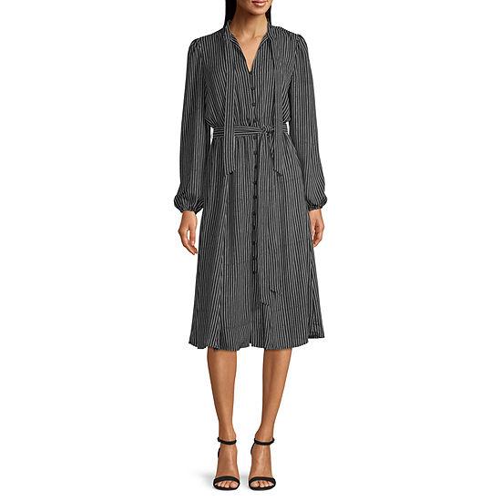 Worthington Long Sleeve Dots A-Line Dress