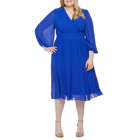 1940s Plus Size Fashion: Style Advice from 1940s to Today Danny  Nicole-Plus 34 Sleeve Midi Fit  Flare Dress 22w  Blue $59.25 AT vintagedancer.com