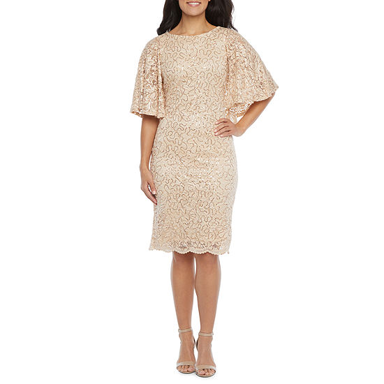 Blu Sage 3/4 Sleeve Sequin Lace Sheath Dress