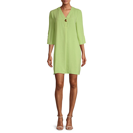 Worthington Womens V Neck Tunic Dress - Tall