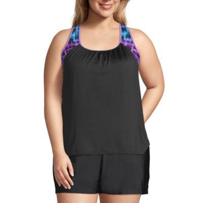 Zeroxposur Tie-dye Tie Dye Tankini Swimsuit Top Plus