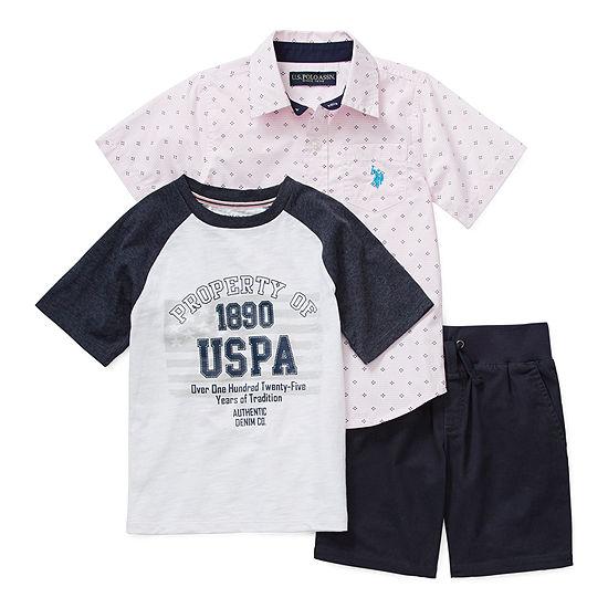 Us Polo Assn. Little Boys 3-pc. Short Set