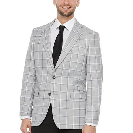 1960s Mens Suits | 70s Mens Disco Suits Stafford Mens Windowpane Classic Fit Sport Coat 52 Long Gray $46.19 AT vintagedancer.com