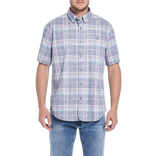 American Threads Mens Short Sleeve Plaid Button-Front Shirt