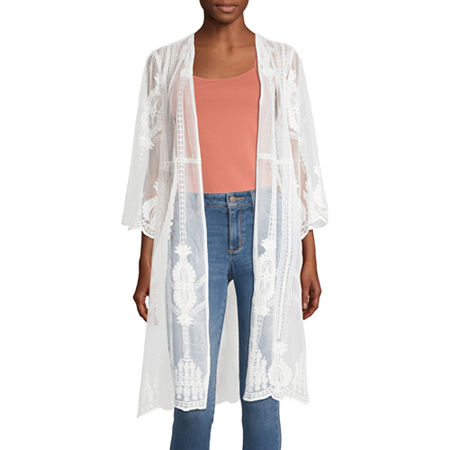 1920s Shawls, Wraps, Scarves, Fur Stoles Artesia Womens 34 Sleeve Kimono Medium  White $24.49 AT vintagedancer.com