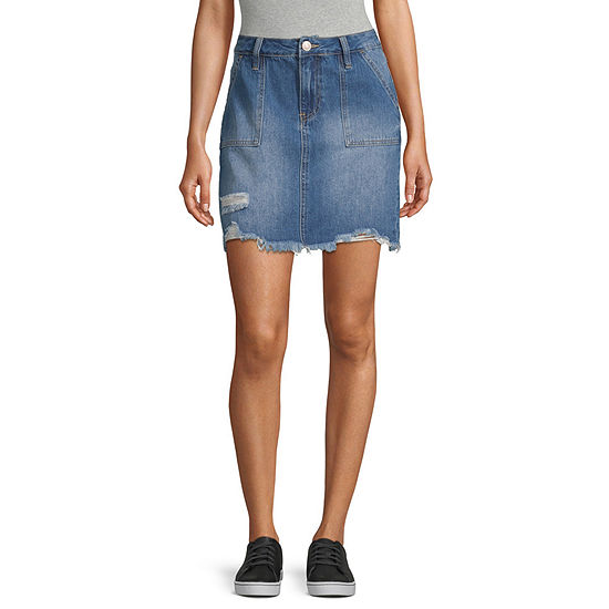 Ymi Womens High Rise Denim Skirt-Juniors
