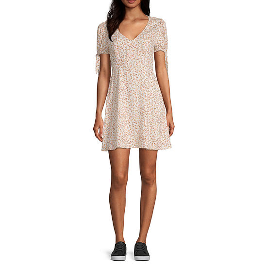 Arizona Short Sleeve Floral A-Line Dress-Juniors