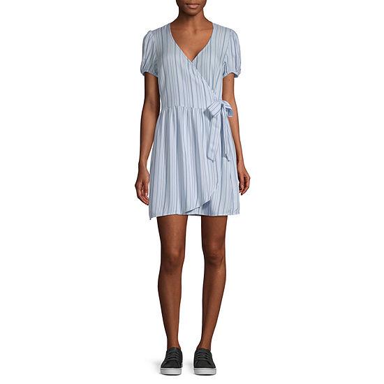 Arizona-Juniors Short Sleeve Striped Wrap Dress