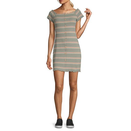Arizona Short Sleeve Striped Bodycon Dress - Juniors