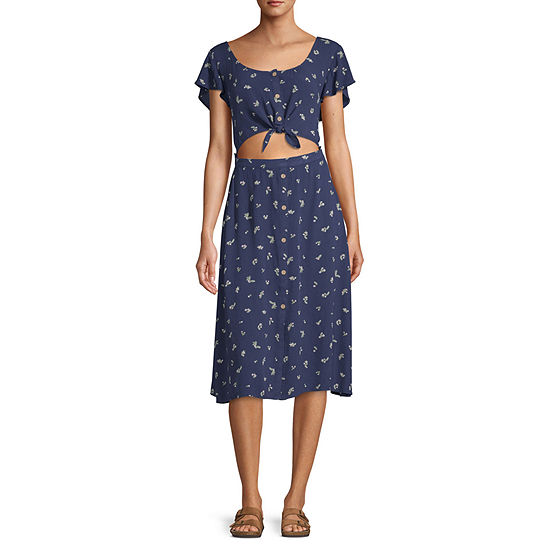 Arizona Short Sleeve Floral Fit & Flare Dress - Juniors