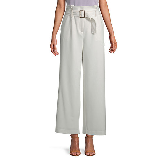 Worthington Womens Inverted Pleat Belted Trouser