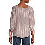Liz Claiborne Womens Square Neck 3/4 Sleeve Blouse