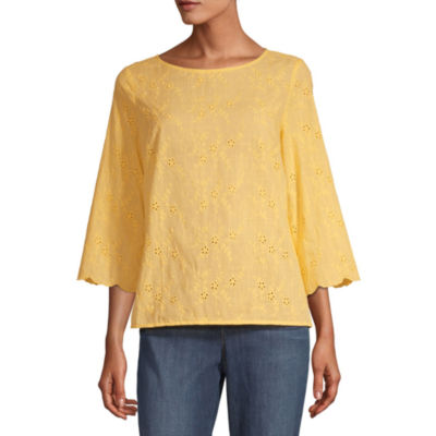 Liz Claiborne Womens Round Neck Long Sleeve Blouse