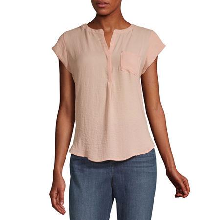 Liz Claiborne Womens Split Crew Neck Short Sleeve Blouse, Small , Pink