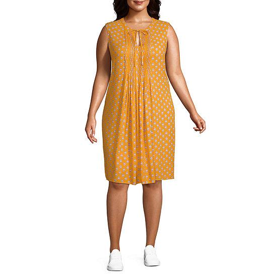 St. John's Bay-Plus Sleeveless Shift Dress