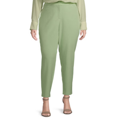 Worthington Womens Straight Leg Ankle Pant - Plus