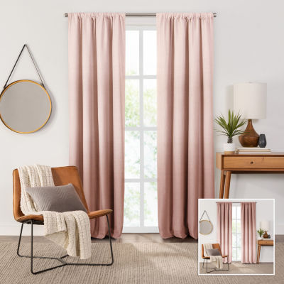 Fieldcrest Devin Flippable Ombre Cotton Chambray Energy Saving 100% Blackout Rod-Pocket Single Curtain Panel