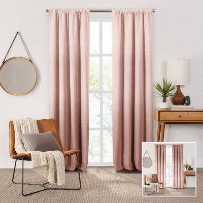 Fieldcrest Devin Flippable Ombre Cotton Chambray Energy Saving 100% Blackout Rod-Pocket Single Curtain Panel
