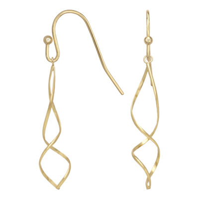 18K Gold Over Brass Spiral Drop Earrings