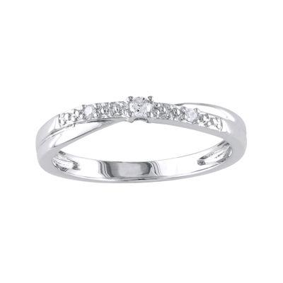 Diamond-Accent Crisscross Ring