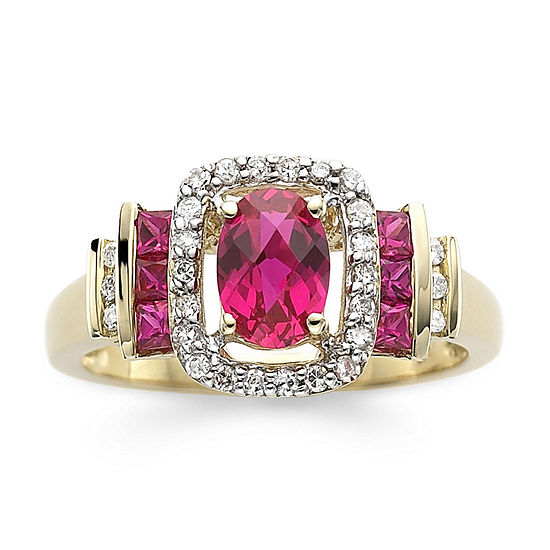 1/7 CT. T.W. Diamond & Lead Glass-Filled Ruby 10K Gold Ring
