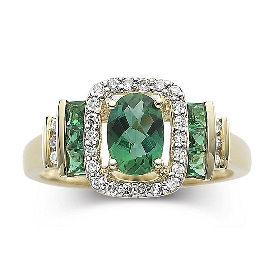 1/7 CT. T.W. Diamond & Genuine Emerald 10K Gold Ring