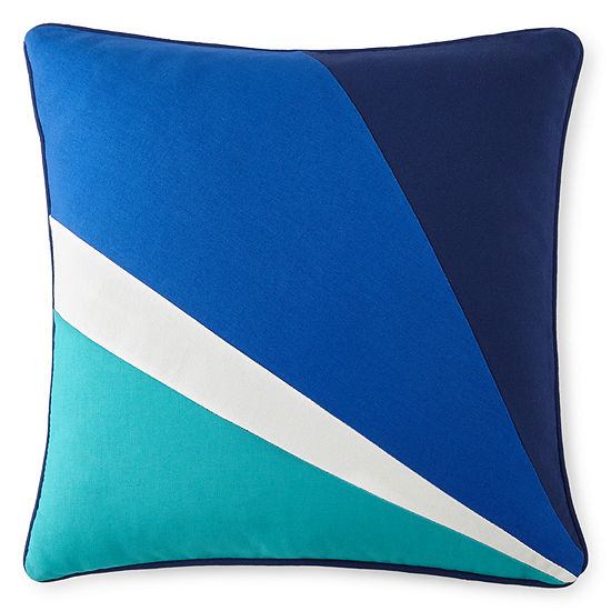"""Happy Chic by Jonathan Adler Zoe 18"""" Pieced Square Decorative Pillow"""