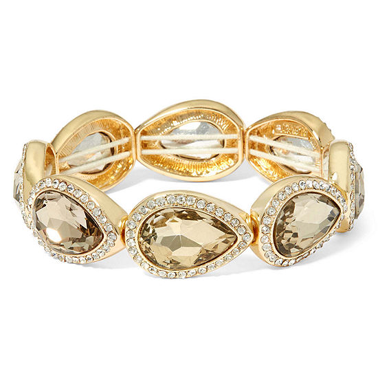 Monet Brown Stone And Gold Tone Stretch Bracelet