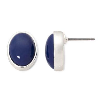 Liz Claiborne® Blue Stone Silver-Tone Button Earrings