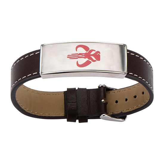 Star Wars® Mens Stainless Steel and Leather Mandalorian Symbol ID Bracelet