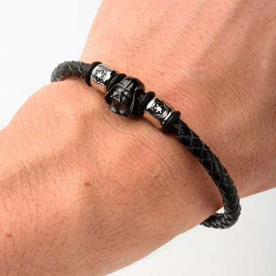 Star Wars® Two-Tone Stainless Steel and Leather Black IP Darth Vader Bracelet