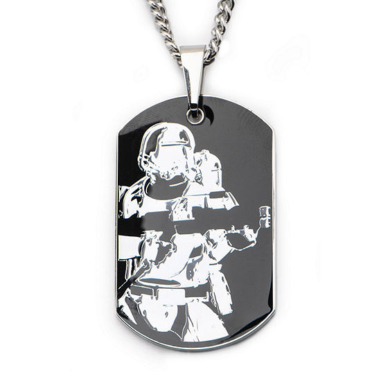 Star Wars® Episode 7 Mens Two-Tone Stainless Steel Stormtrooper Dog Tag Pendant Necklace