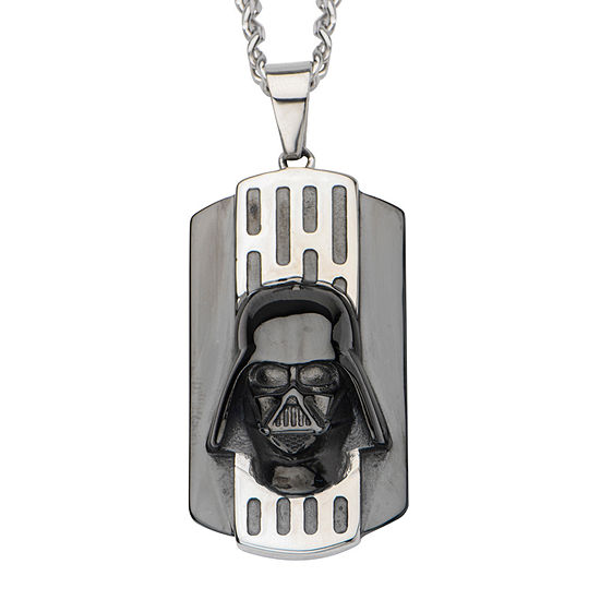 Star Wars® Two-Tone Stainless Steel Black IP Darth Vader Dog Tag Pendant Necklace