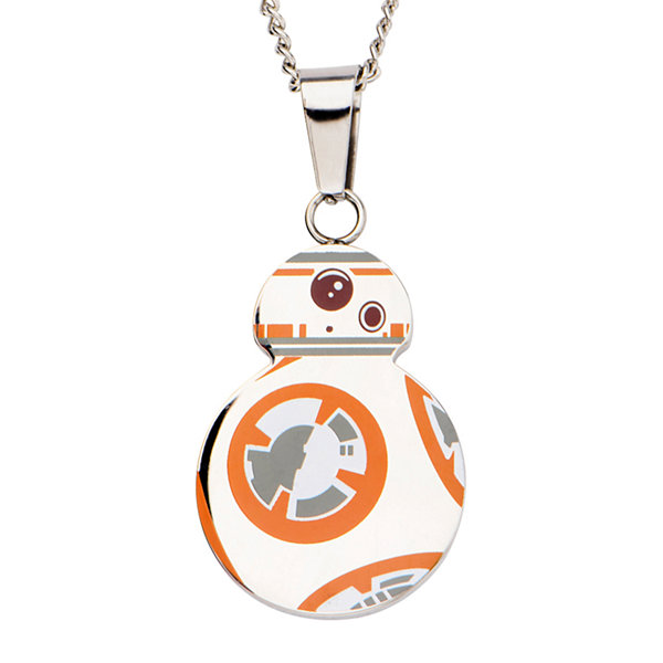 Star Wars® Stainless Steel Episode VII BB-8 Droid Cutout Pendant Necklace