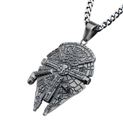 Star Wars® Stainless Steel Millennium Falcon Pendant Necklace