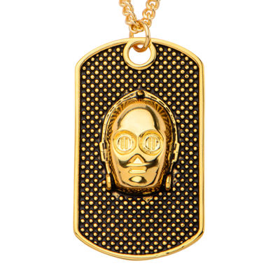 Star Wars® Yellow IP Stainless Steel 3D C-3PO Dog Tag Pendant Necklace