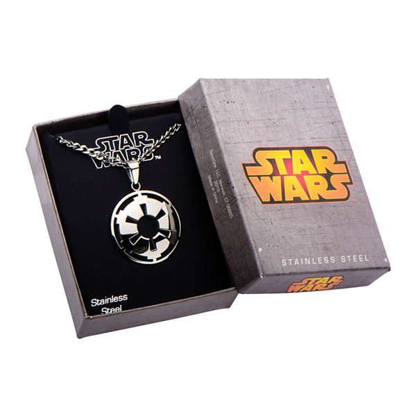 Star Wars® Stainless Steel Galactic Empire Symbol Cutout Pendant Necklace
