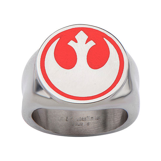 Star Wars® Stainless Steel Red Rebel Symbol Ring