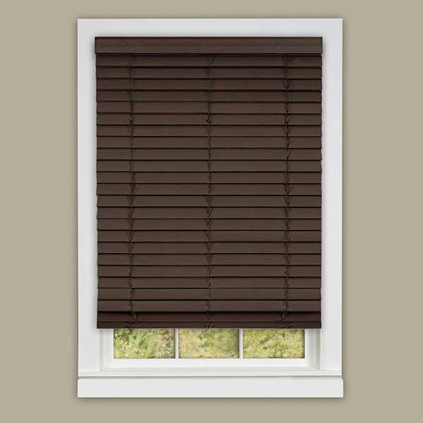 "Cordless Madera Falsa 2"" Faux Wood Horizontal Plantation Blinds"