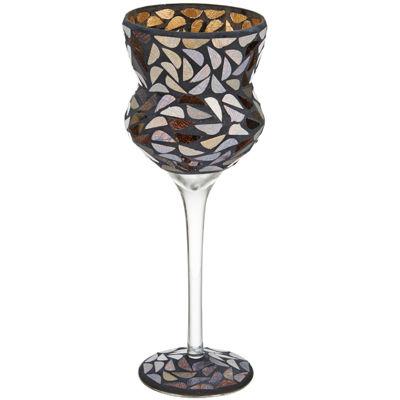 Glass Mosaic Goblet Candleholder
