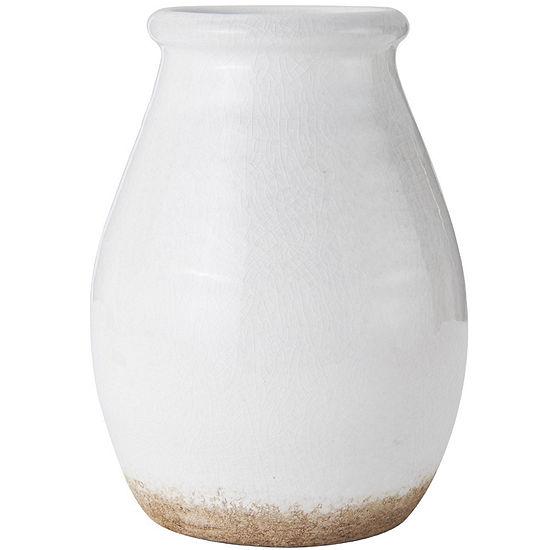 Elements® Fire Rustic White Ceramic Vase