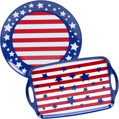 Certified International Stars & Stripes 2-pc. Melamine Platter Set