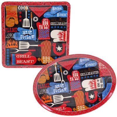 Certified International BBQ Bandit 2-pc. Melamine Platter Set