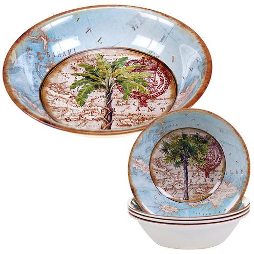 Certified International Antique Palms 5-pc. Melamine Salad and Serving Bowl Set