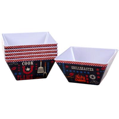 Certified International BBQ Bandit Set of 6 Melamine Ice Cream Bowls