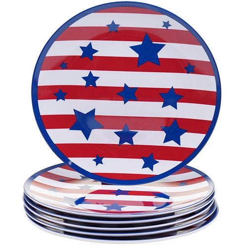 Certified International Stars & Stripes Set of 6 Melamine Salad Plates