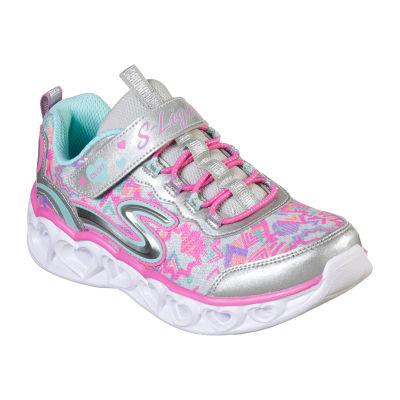 Skechers Heart Lights Little Kids Girls Sneakers Elastic