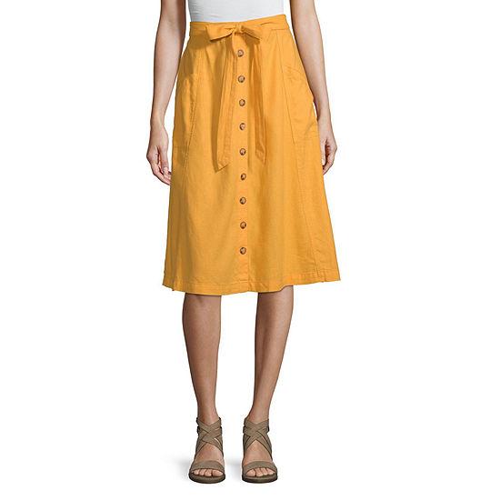 a.n.a Tie Waist Button Front Skirt - Tall
