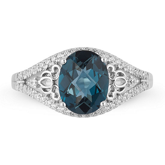Enchanted Disney Fine Jewelry 1/5 CT. T.W. Diamond & Genuine London Blue Topaz Sterling Silver Ring