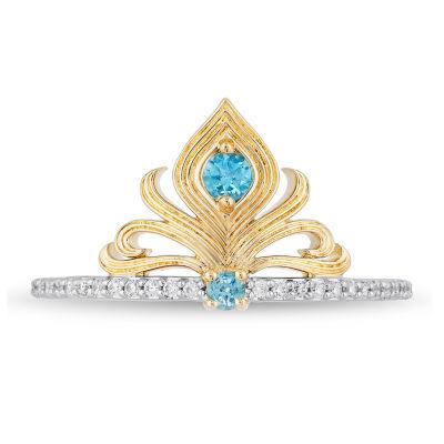Enchanted Disney Fine Jewelry Womens 1/10 CT. T.W. Genuine Blue Topaz Aladdin Cocktail Ring